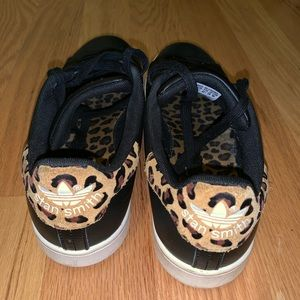 Leopard Trim ADIDAS Stan Smith Sneakers Sz 10